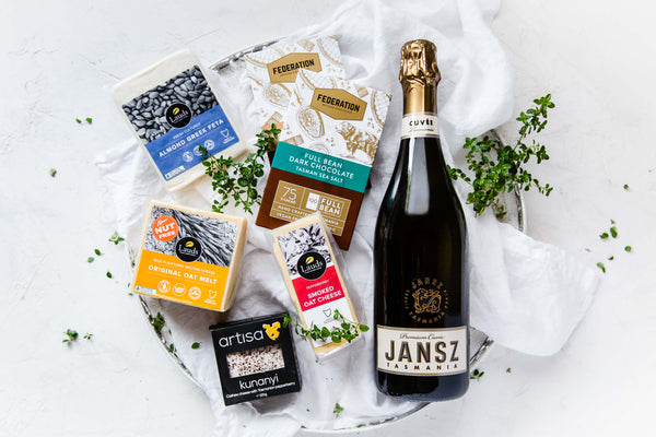 Vegan Cheese and Vegan Sparkling with Chocolate