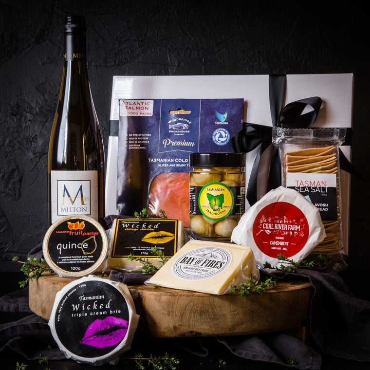 Picnic Hamper with Smoked Salmon, Milton Pinot Gris, Cheese and Condiments
