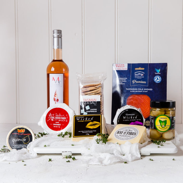 Picnic Hamper with Premium Ocean Trout, Milton Pinot Rose, Cheese and  Condiments