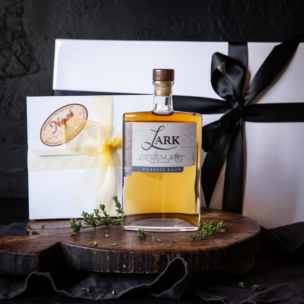 Vegan Christmas Gift of Chocolates and Lark Whisky