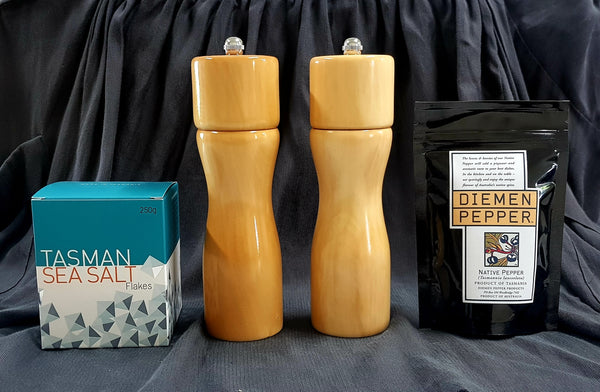 Huon Pine Pepper and Salt Grinder with Pepperberry and Tasman Sea Salt  Gift Pack