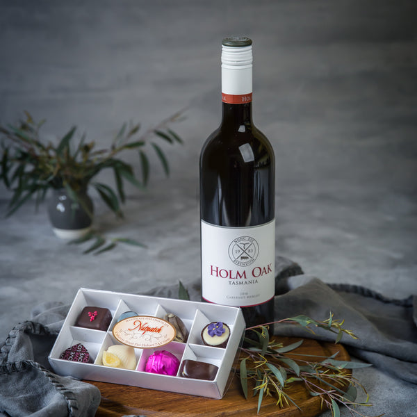 Mothers Day Tasmanian Handmade Chocolates and Red Wine present - Tasmanian Gourmet Online