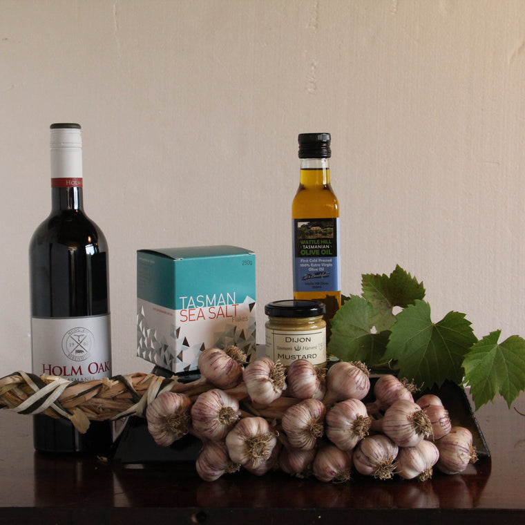 Tasmanian Garlic hamper with wine - Tasmanian Gourmet Online
