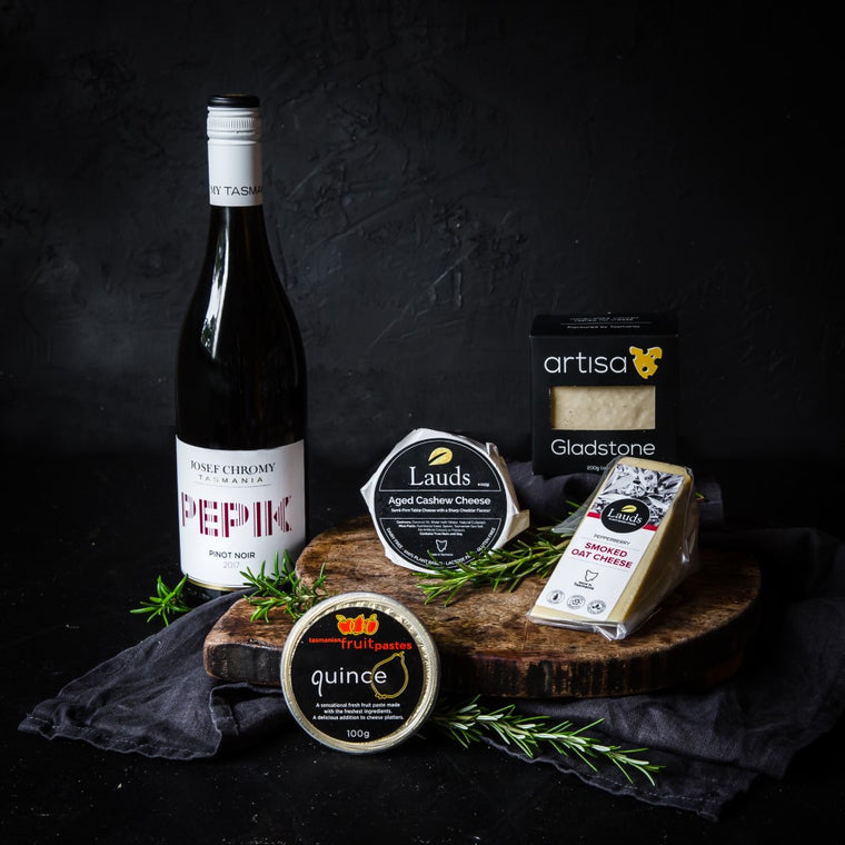 Tasmanian Vegan Cheese Gift with Vegan Wine