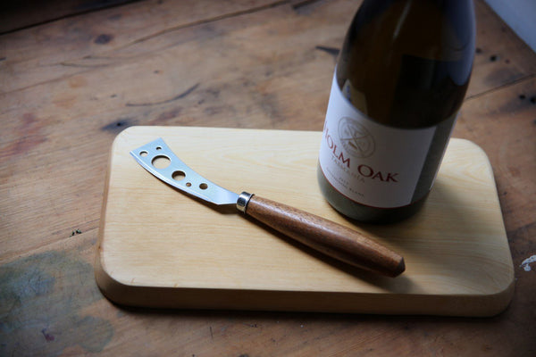 Huon Pine Cheese Board, Knife and Sauvignin Blanc - Tasmanian Gourmet Online