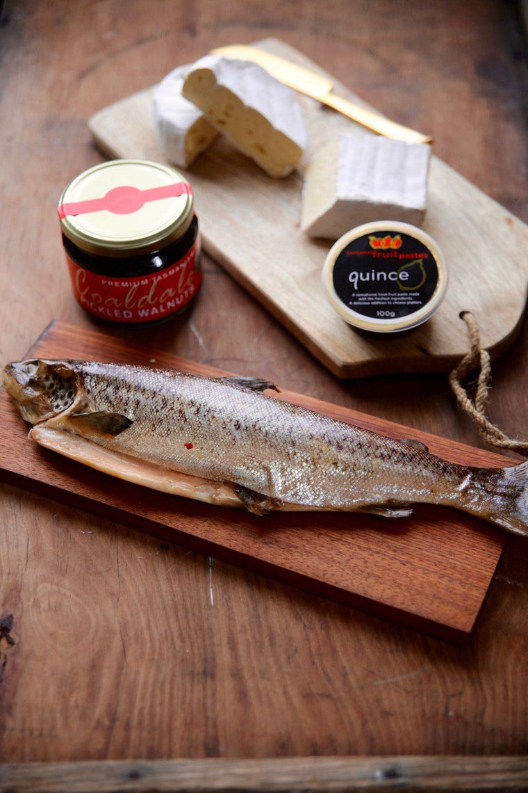 Whole Baby Salmon, Cheeses and Condiments Gourmet Gift Hamper - Tasmanian Gourmet Online