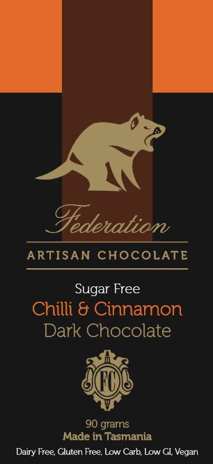 Federation Chocolate Chilli and Cinnamon Dark Chocolate - Tasmanian Gourmet Online