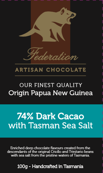 Federation Chocolate Papua New Guinea Sing Origin 74% With Tas SeaSalt - Tasmanian Gourmet Online
