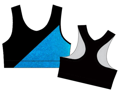 Black Aqua Racerback Crop Top Gymnastics Dance Gym Inspire xo