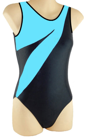 Gymnastics Dance Gym Leotard Aqua Black SoftTouch Inspire xo