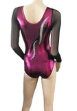 Berry White Crystals Long Sleeve Competition Leotard Gymnastics Dance Gym Inspire xo