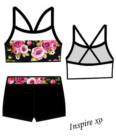 Pink Rose Crop Sports Bra Top Shorts Gymnastics Dance Inspire xo