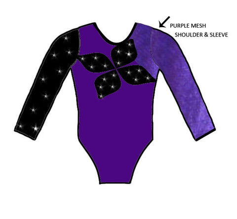 Purple Black Crystals Mesh Long Sleeve Competition Leotard Gymnastics Dance Gym Inspire xo