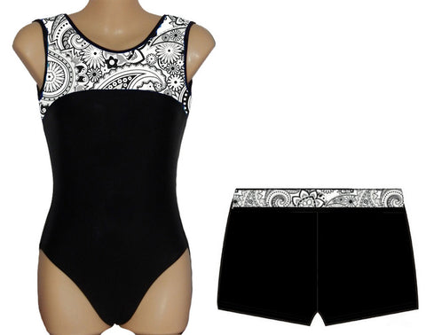 Black White Paisley Leotard Gymnastics Dance Gym Inspire xo