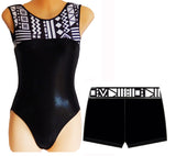 Black White Tribal Leotard Shorts Set Velvet Lycra Gymnastics Dance Inspire xo
