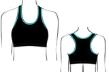 Black Aqua Crop Top Gymnastics Dance Gym Inspire xo