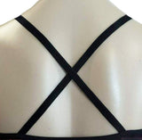 Black Crossed Straps Crop Top Gymnastics Dance Gym Inspire xo
