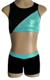 Mint Black Crop Top Shorts Set Racerback Lycra Velvet Gymnastics Dance Inspire xo