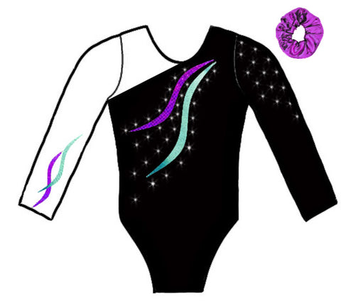 Purple Mint Crystals Long Sleeve Competition Leotard Scrunchie Gymnastics Dance Inspire xo