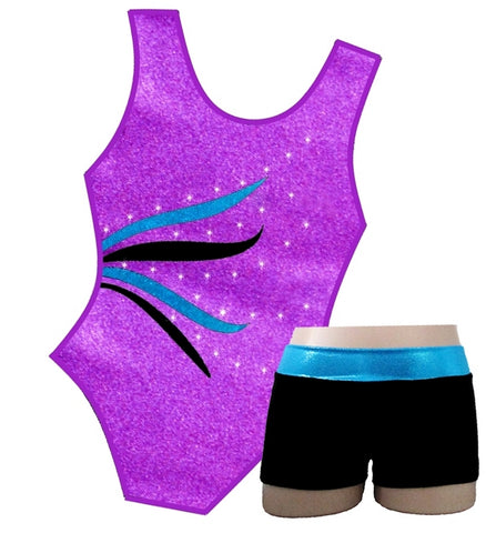 ORCHID & CRYSTALS LEOTARD & SHORTS SET