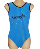 Personalised Personalized Leotard Gymnastics Dance Inspire xo Aqua Blue