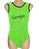 Personalised Personalized Leotard Gymnastics Dance Inspire xo Lime Green