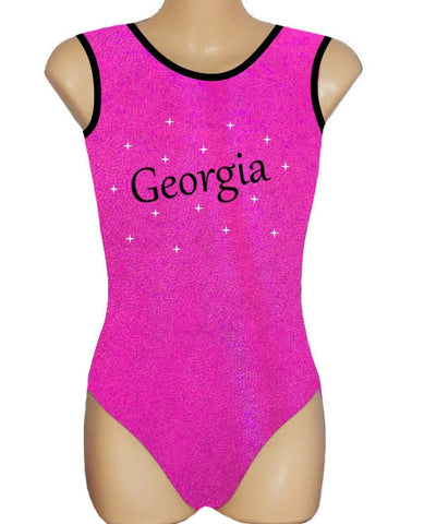 Personalised Pink Leotard Gymnastics Dance Inspire xo Swarovski Crystals Name