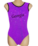Personalised Personalized Leotard Gymnastics Dance Inspire xo Purple Pink