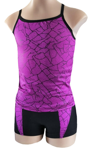 Pink Purple Singlet Crop Top Shorts Set Gymnastic Dance Gym Trampoline Acro Cheer Inspire xo