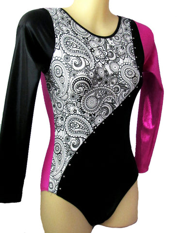 Long Sleeve Competition Leotard Pink Paisley Black Crystals Gymnastics Dance Inspire xo
