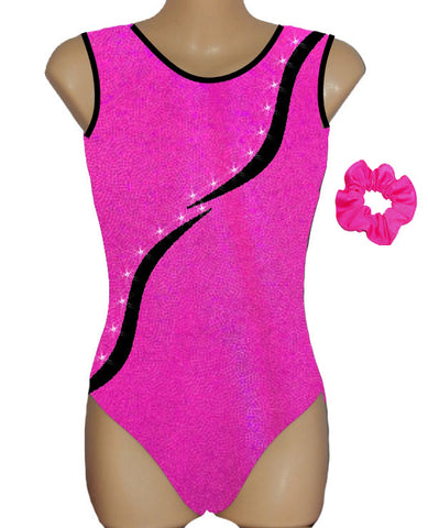 Pink Black Crystals Leotard Gymnastics Dance Gym Inspire xo