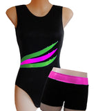 Black Pink Lime Crystals Leotard Gymnastics Dance Gym Inspire xo