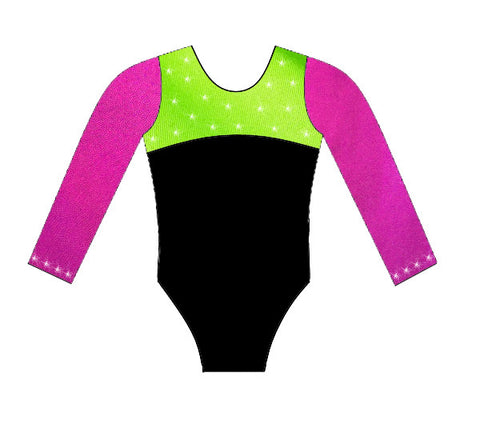 pink Lime black crystals Long sleeve competition leotard inspire xo