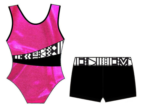 Pink Black White Tribal Leotard Shorts Set Velvet Lycra Gymnastics Dance Inspire xo