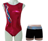 Red Pomegranate Leotard Lycra Silver Shorts Set Gymnastics Dance Inspire xo