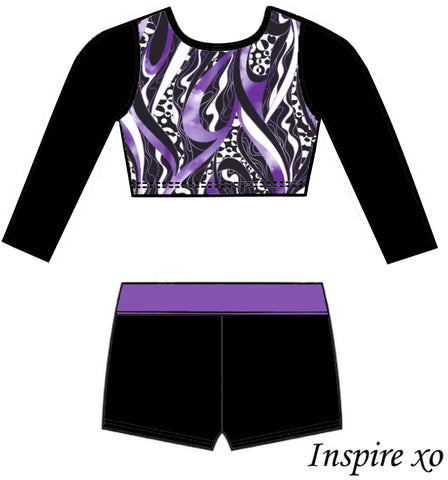 Freedom Purple Black White Long Sleeve Crop Top Shorts Set Gymnastics Dance Inspire xo Australia