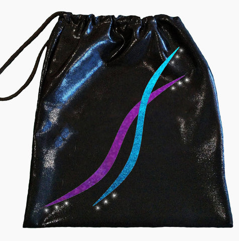 Black Purple Aqua Gymnastics Dance Handguard Drawstring Bag Inspire xo