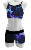 Purple Aqua Lightning Crop Top Shorts Set Lycra Gymnastics Dance Inspire xo