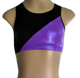 Purple Black Racerback Crop Top Gymnastics Dance Gym Inspire xo