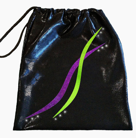 Black Purple Lime Gymnastics Dance Handguard Drawstring Bag Inspire xo