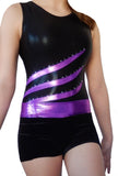 Black Purple Pink Crystals Leotard Shorts Velvet Lycra Set Gymnastics Dance Inspire xo
