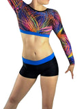 Colourful Aqua Blue Crop Top Lycra Shorts Set Gymnastics Dance Gym Inspire xo