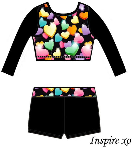 Sweet Hearts Long Sleeve Crop Top Shorts Set Gymnastics Dance Inspire xo