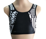 black and white tribal print crop top gymnastics dance gym inspire xo