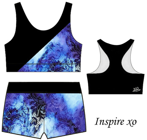 Blue Watercolour Floral Lace Dance Gymnastics Leotard Crop Top Sports Bra Shorts Set Inspire xo