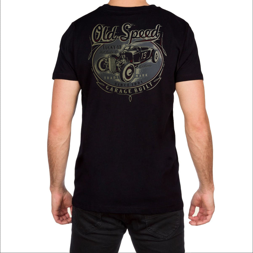 Old Custom Mens Black T Shirt by Lucky 13
