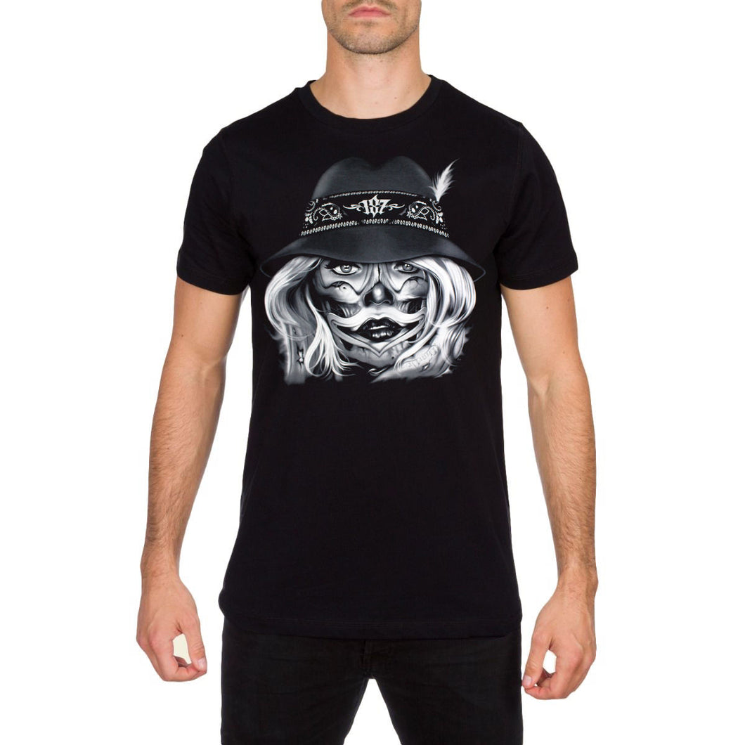 Smile Now Die Later Mens Black T Shirt by Charlie Medina 187 Inc