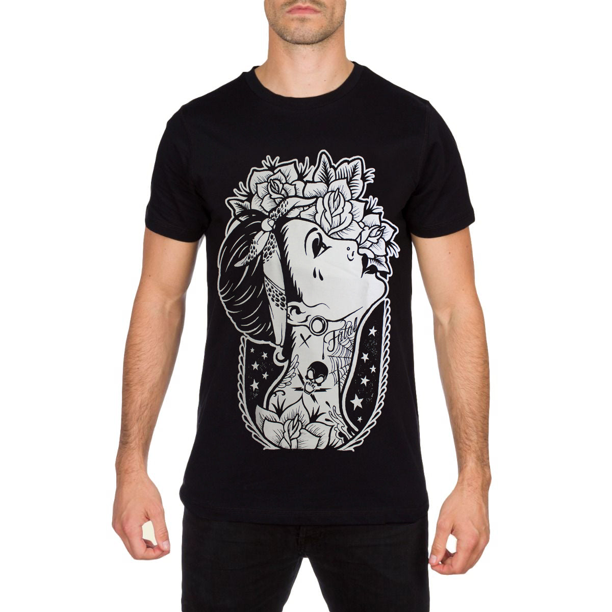 Fatal Clothing Designs | Roses Design Mens Black T Shirt By Fatal Clothing Australia Sub