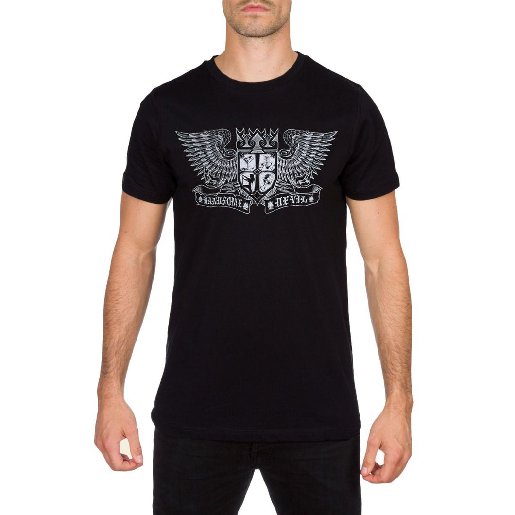 Devil Crest Men's Black Tee by Handsome Devil