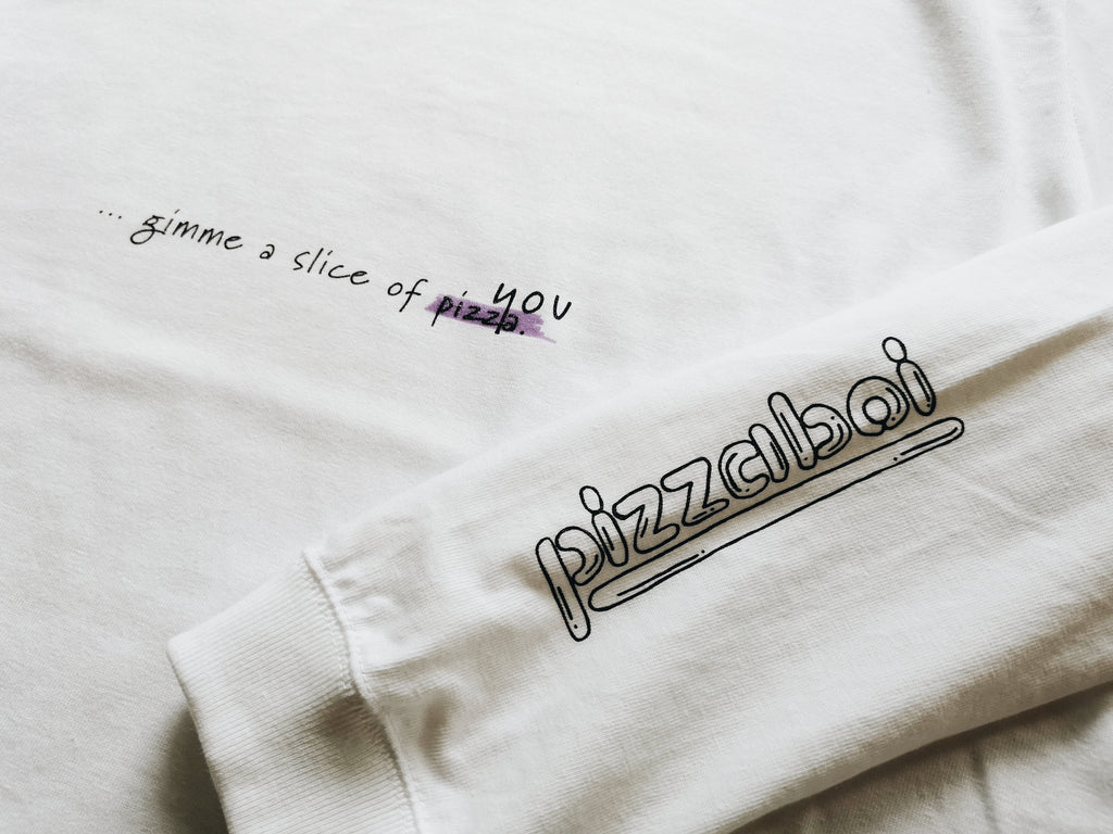 [WHITE] will you pizza me? L/S Tee